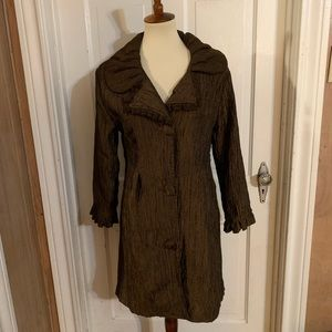 NWOT Pretty Angel Brown Ruched Jacket. Size M